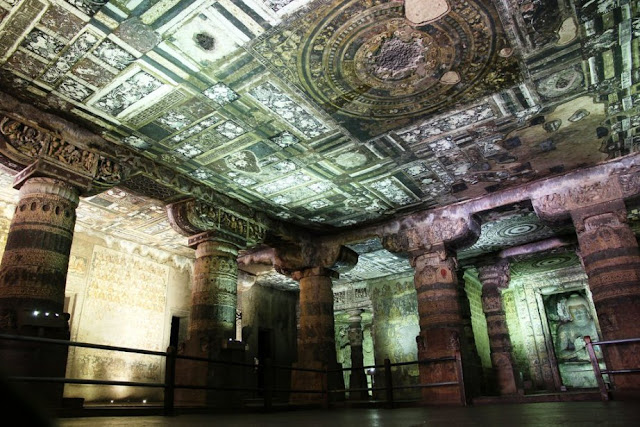 Ajanta cave 2 interior with paintings