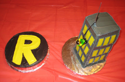 Robin Logo Cake and Robin Climbing Building Cake Together - Overhead View