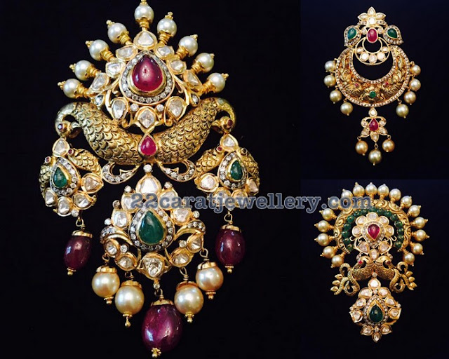 Heavy Peacock Pendant Sets by Pushkala