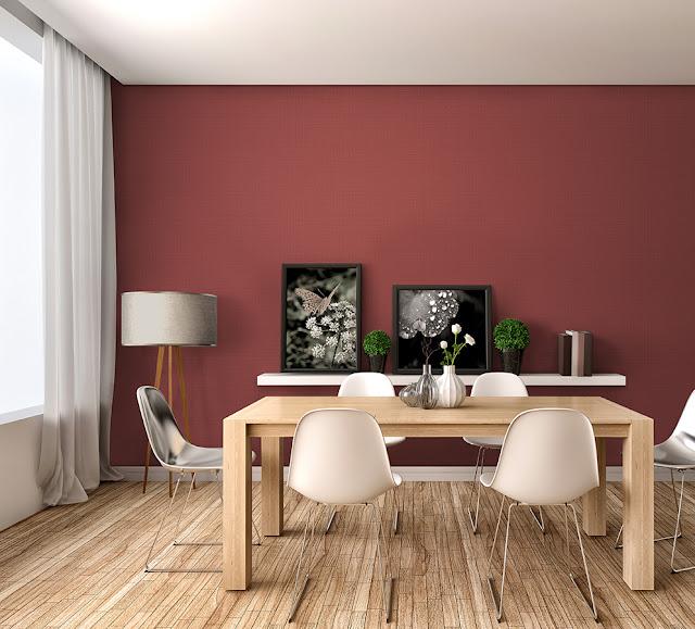 Mẫu đỏ trơn là kiểu mẫu giấy dán tường phòng ngủ vợ chồng đẹp và rất ưa chuộng