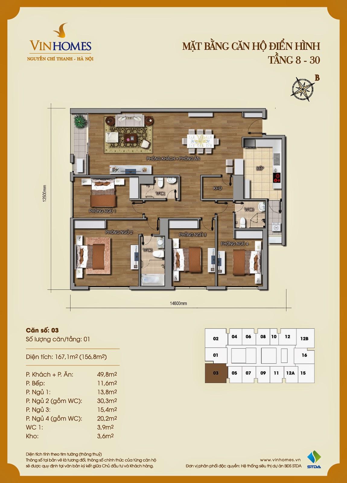 Mặt bằng chi tiết căn hộ 03 Vinhomes Nguyễn Chí Thanh