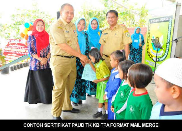 Download CONTOH SERTIFIKAT PAUD TK KB TPA FORMAT EXCEL