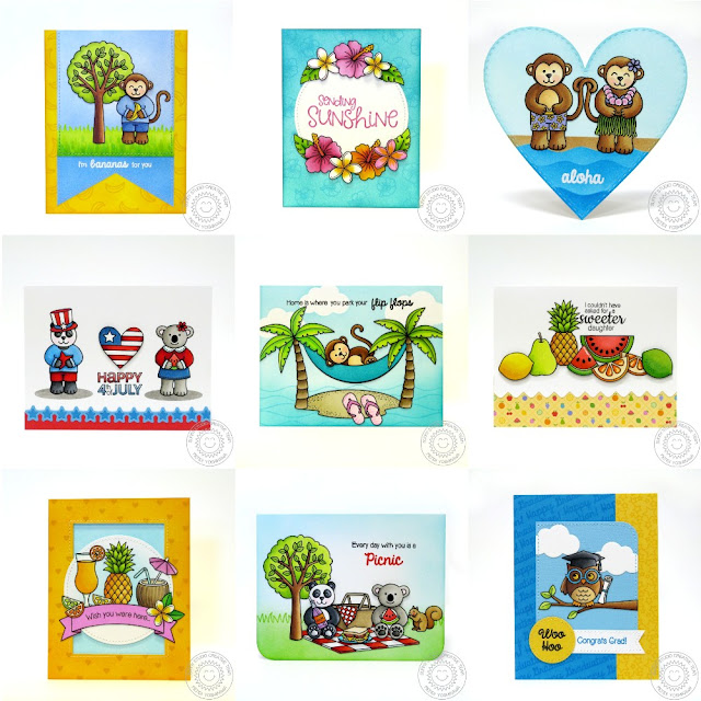 Sunny Studio Cards using April 2016 Summer Release stamps and dies