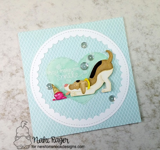 Ice cream & dog card by Naki Rager | Dog Days of Summer Stamp set by Newton's Nook Designs #newtonsnook