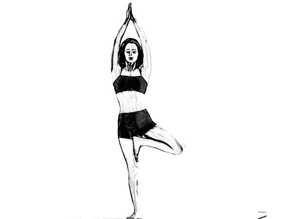 senam asana yoga dengan satu kaki berdiri