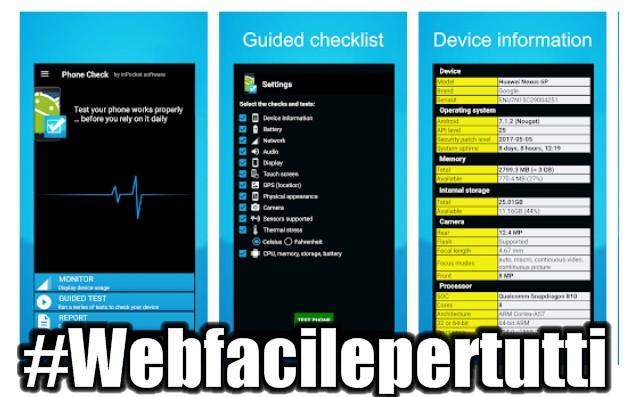 Phone Check | Applicazione che permette di verificare il corretto funzionamento dei componenti dei dispositivi mobil