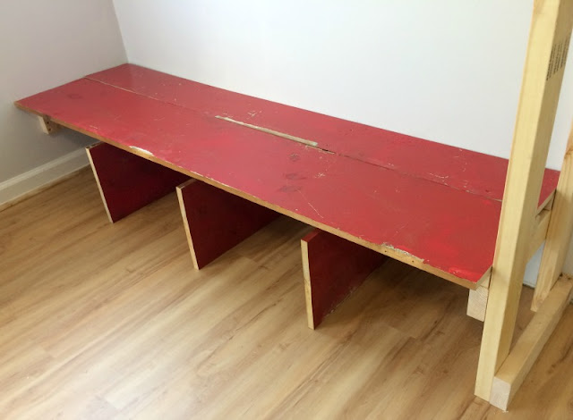 Use scrap wood to build a bench for the mudroom.