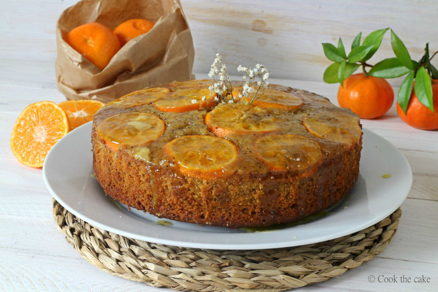 bizcocho invertido de mandarina, poppy seeds, tangerine upside down cake