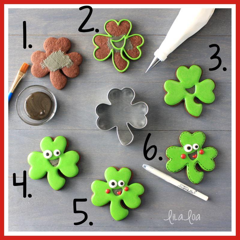 Shamrock sugar cookie decorating tutorial step-by-step