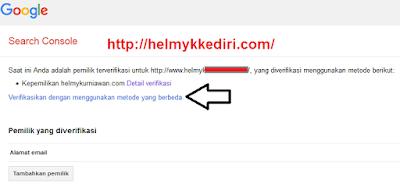 Cara verifikasi situs blog kegoogle webmaster2