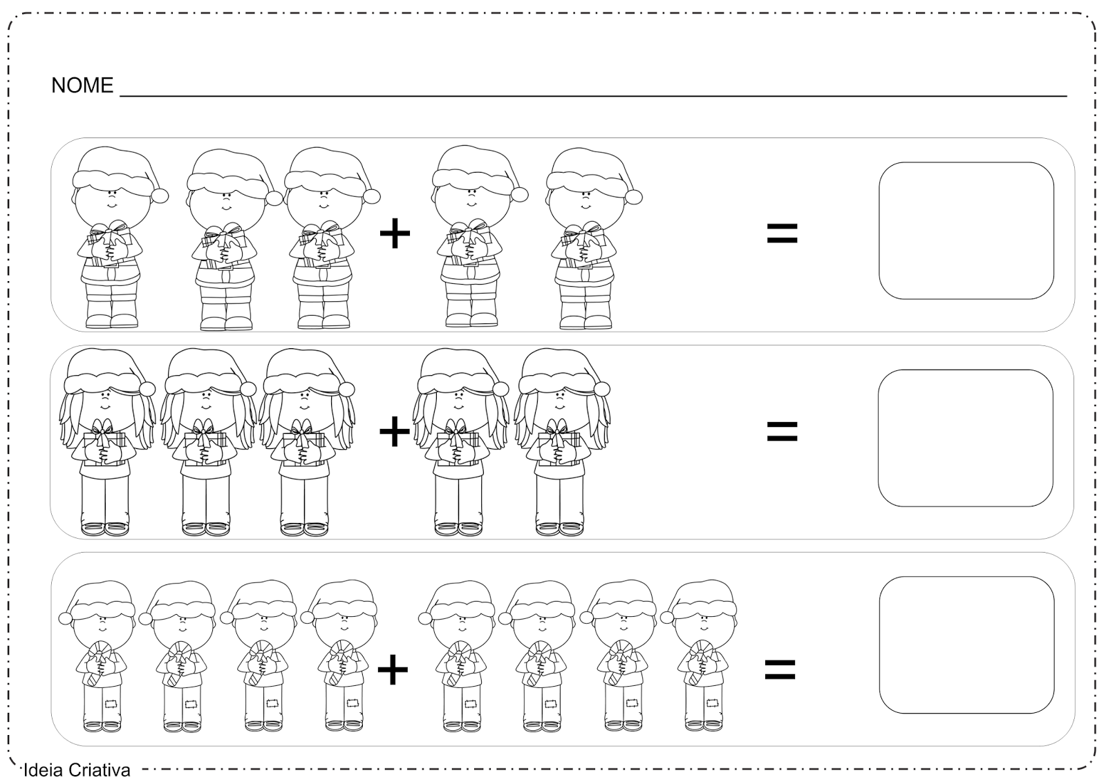 Atividades Natalinas Soma Simples com Figuras