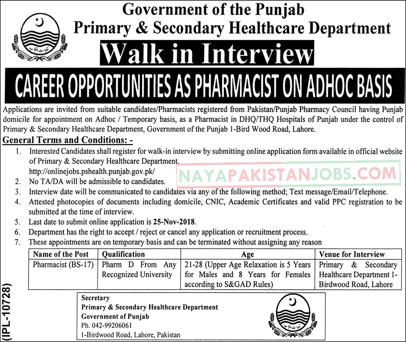 Latest Vacancies Announced in Primary And Secondary Healthcare Department 8 November 2018 - Naya Pakistan