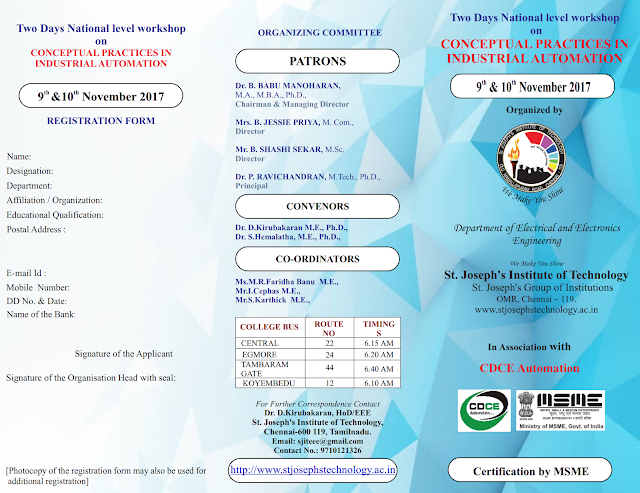 2 Days Workshop on Conceptual Practices in Industrial Automation at St.Joseph's Institute, Chennai
