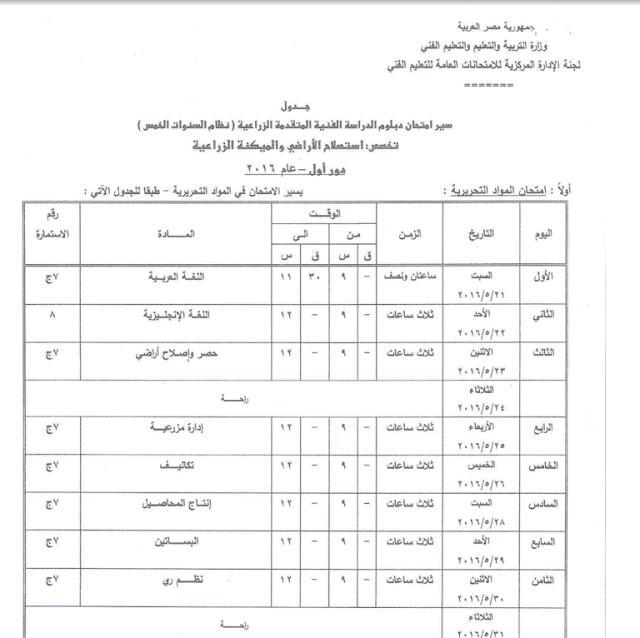 جدول امتحانات الثانوية الفنية 2016 (زراعى- فنى- تجارى- فتدقى)