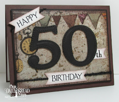 ODBD Celebration, ODBD Custom Large Numbers Dies, ODBD Custom Double Stitched Rectangles Dies, ODBD Custom Pennant Flags Dies, Artistic Outpost Vagabond Treasures Paper Collection, Card Designer Angie Crockett