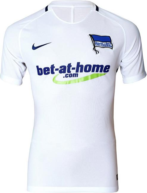 e3b51922d3a Based on the same template as the home shirt, the new Hertha BSC 2016-17 away  jersey is all-white with blue sponsor logos and a blue piping around the  rear ...