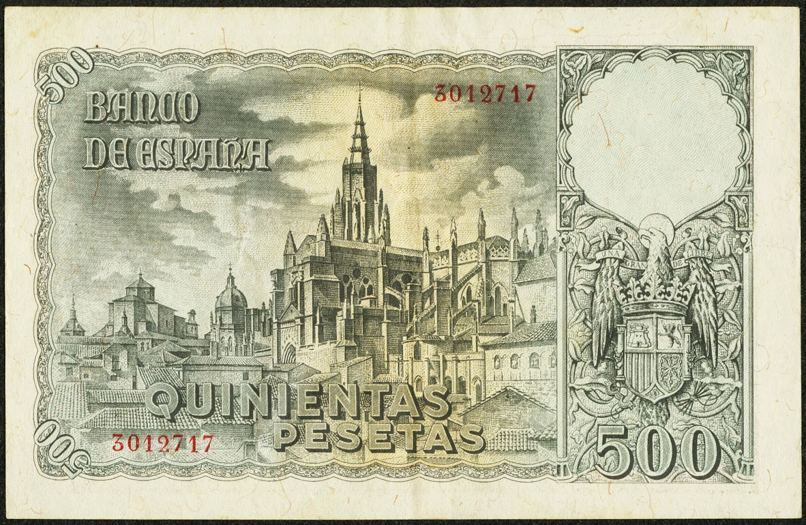 Spain money currency 500 Pesetas banknote 1940 Cathedral of Toledo