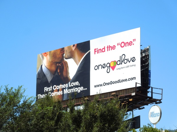One Good Love gay dating billboard