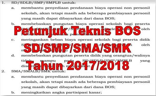 Petunjuk Teknis BOS SD SMP SMA SMK Tahun 2017/2018