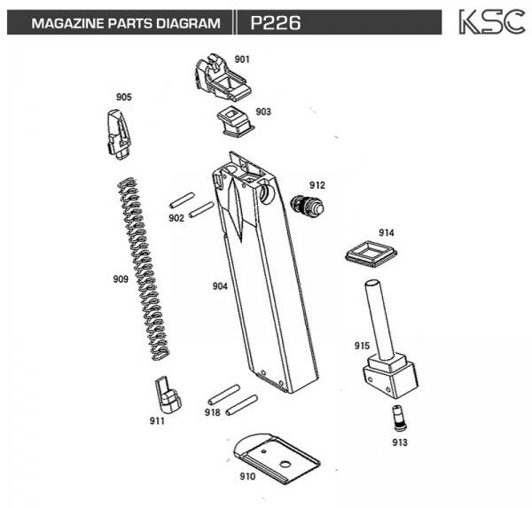 Disassembly, DIY, My Airsoft gun, And Other Things: KSC P226 Exploded Diagram, Main Gun and Magazine