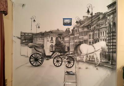 Mural 3D, malowanie obrazu na ścianie farbami akrylowymi. Obrazy ręcznie malowane,