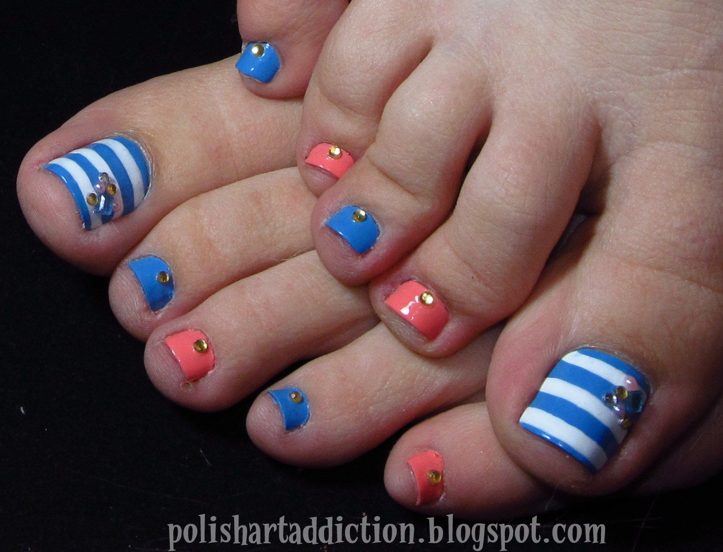 Coral & Blue Pinterest Toes