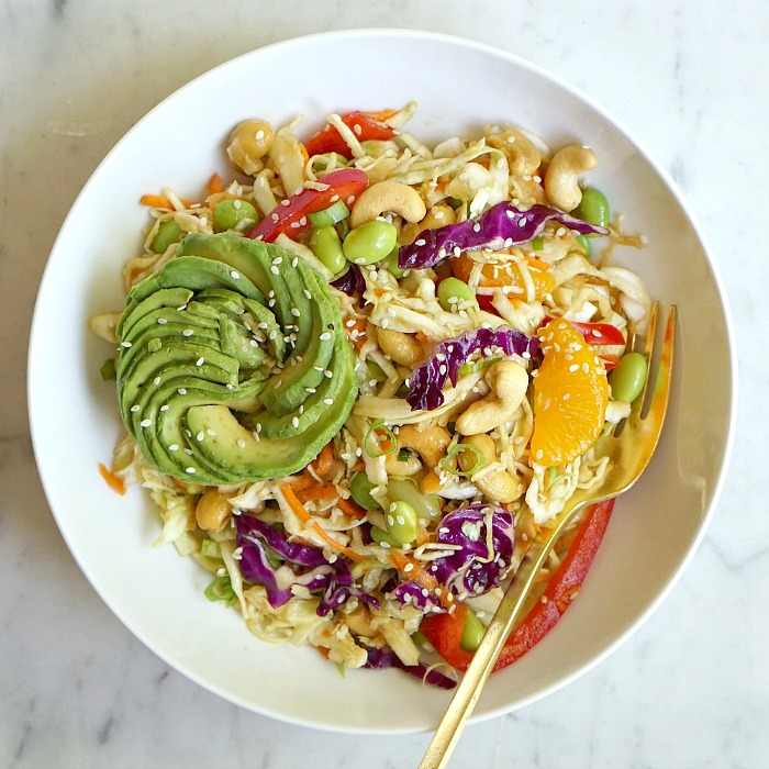 This big bowl of Asian cabbage salad with veggies and sesame ginger dressing is so delicious and healthy.