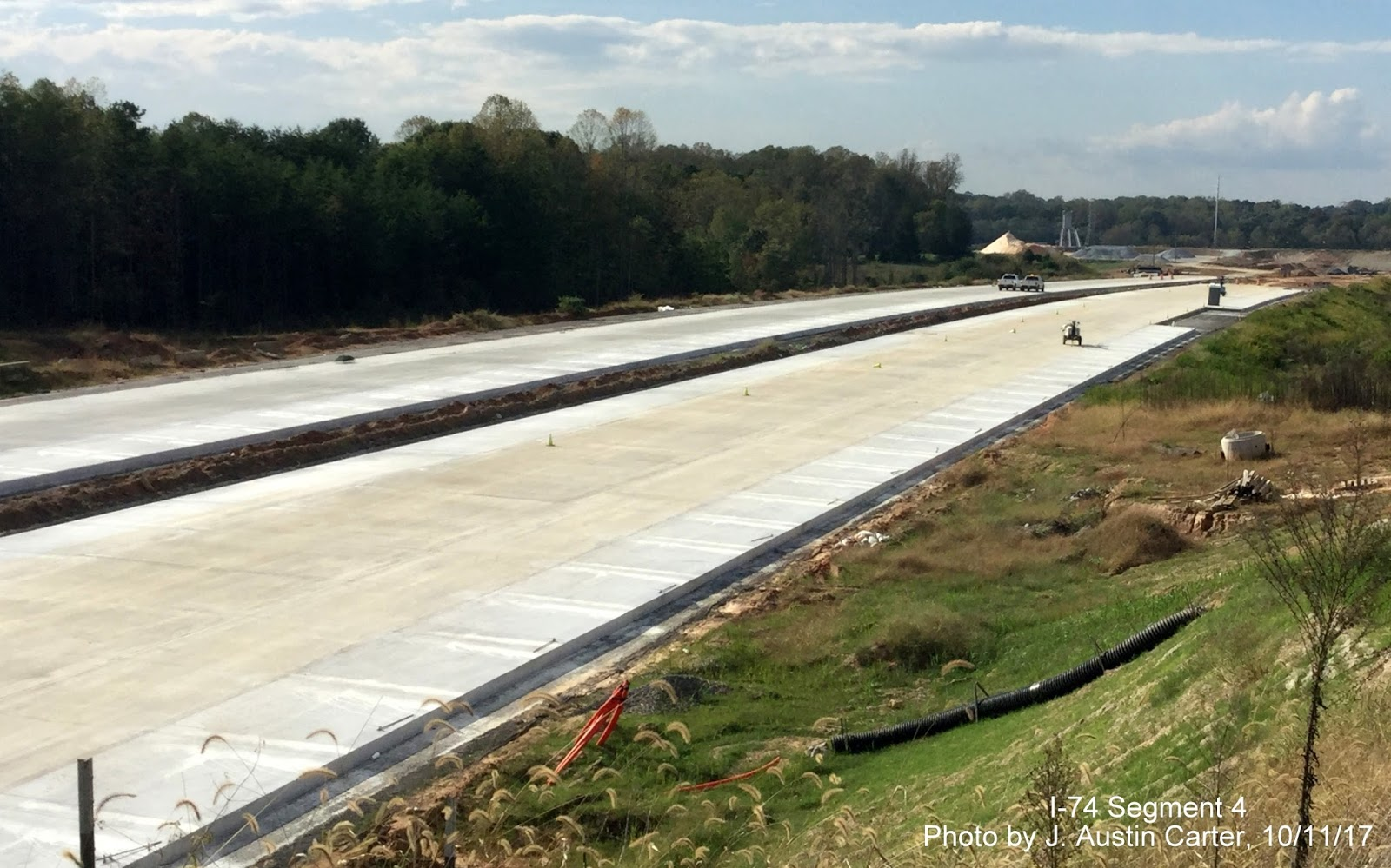 completed concrete lanes for the i 74 beltway approaching us 158 from october