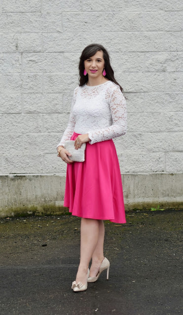 Pink Skirt and Gold Bow Heels Valentine's Dinner Date