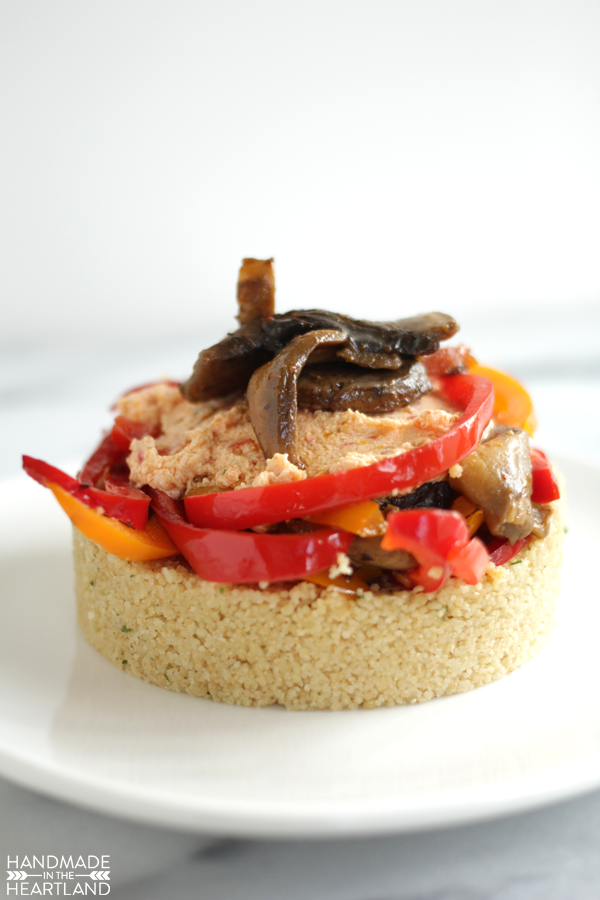 portobello mushroom and bell pepper cous-cous salad