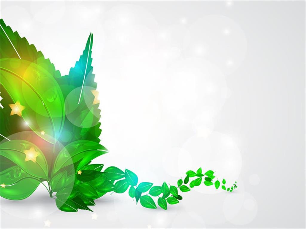 3D green leaf PPT background