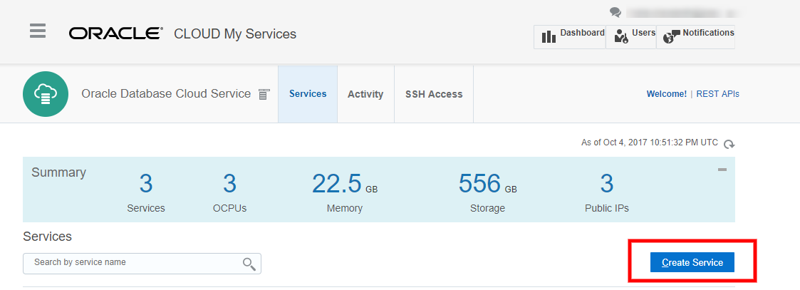 Cloud@Cloud: Create Database Cloud Service (DBCS) using Oracle Cloud