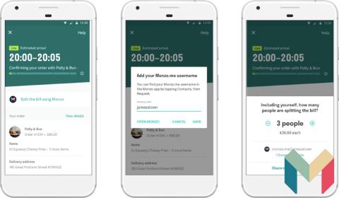 Partage des frais dans l'app Deliveroo