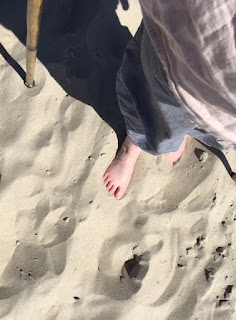 feet and walking stick in fine beach sand