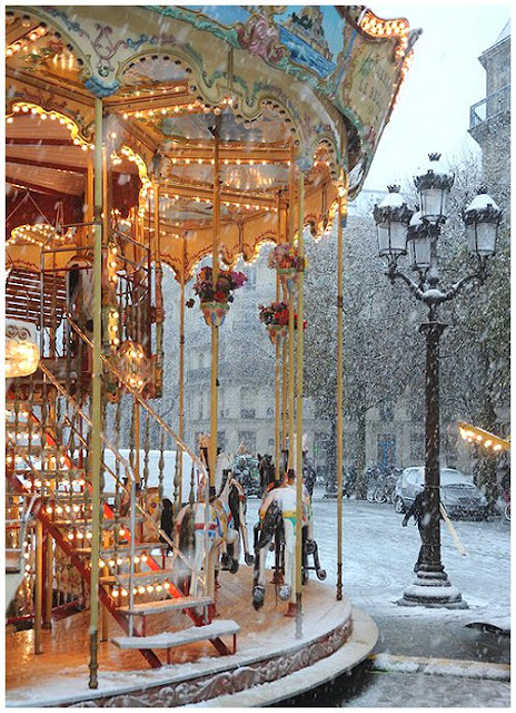 Merry-go-round in the snow
