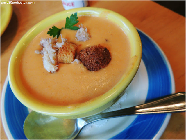 Crab Bisque en el Blue Eyed Crab de Plymouth