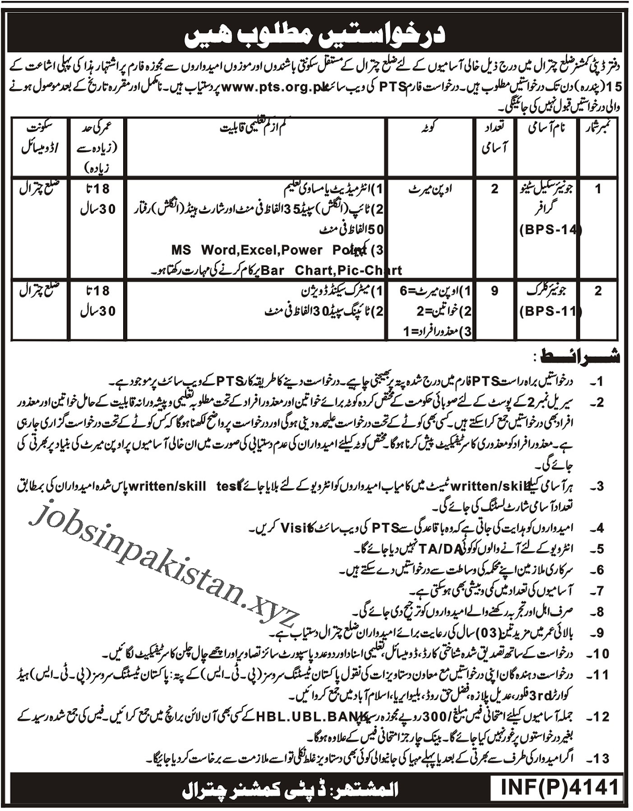 Advertisement for Deputy Commissioner Office Chitral Jobs 2018