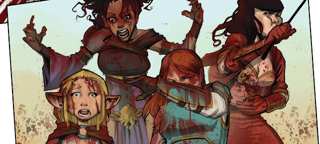 Recorte de um quadro da HQ mostra as Ratas Rainhas com expressão de espanto, nojo e terror cobertas de sangue.
