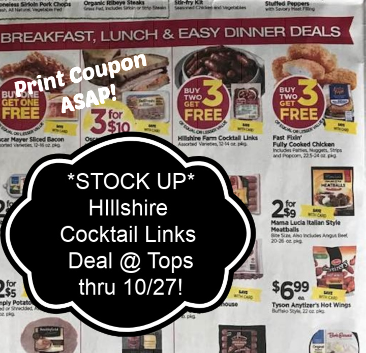 hillshire cocktail links deal at tops