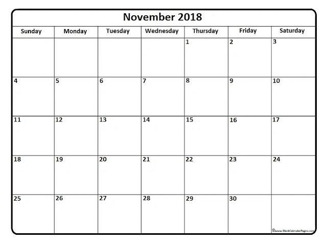 November 2018 Free holiday calendar