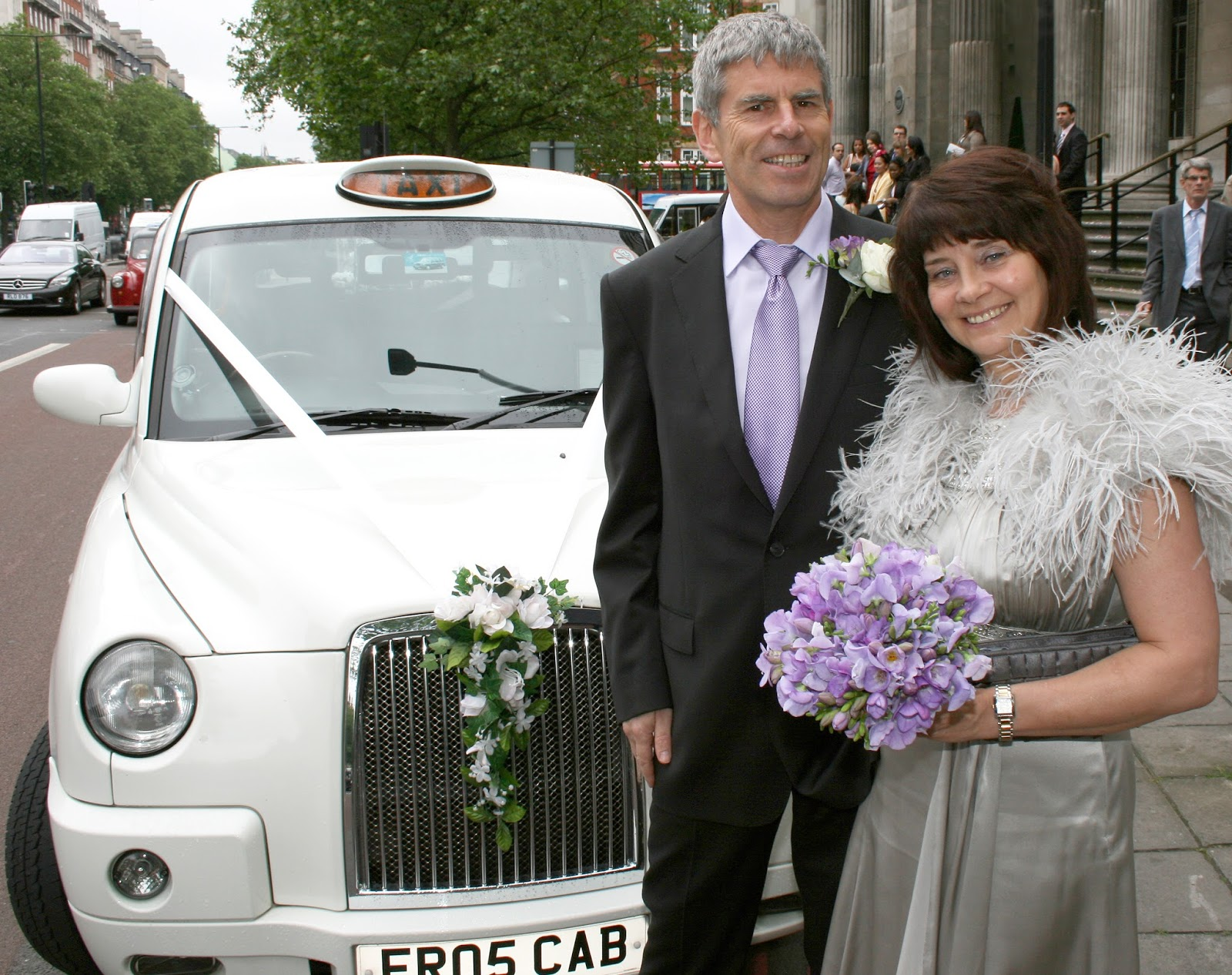 Blogger Gail Hanlon at her second wedding in London with husband John Hanlon in 2010