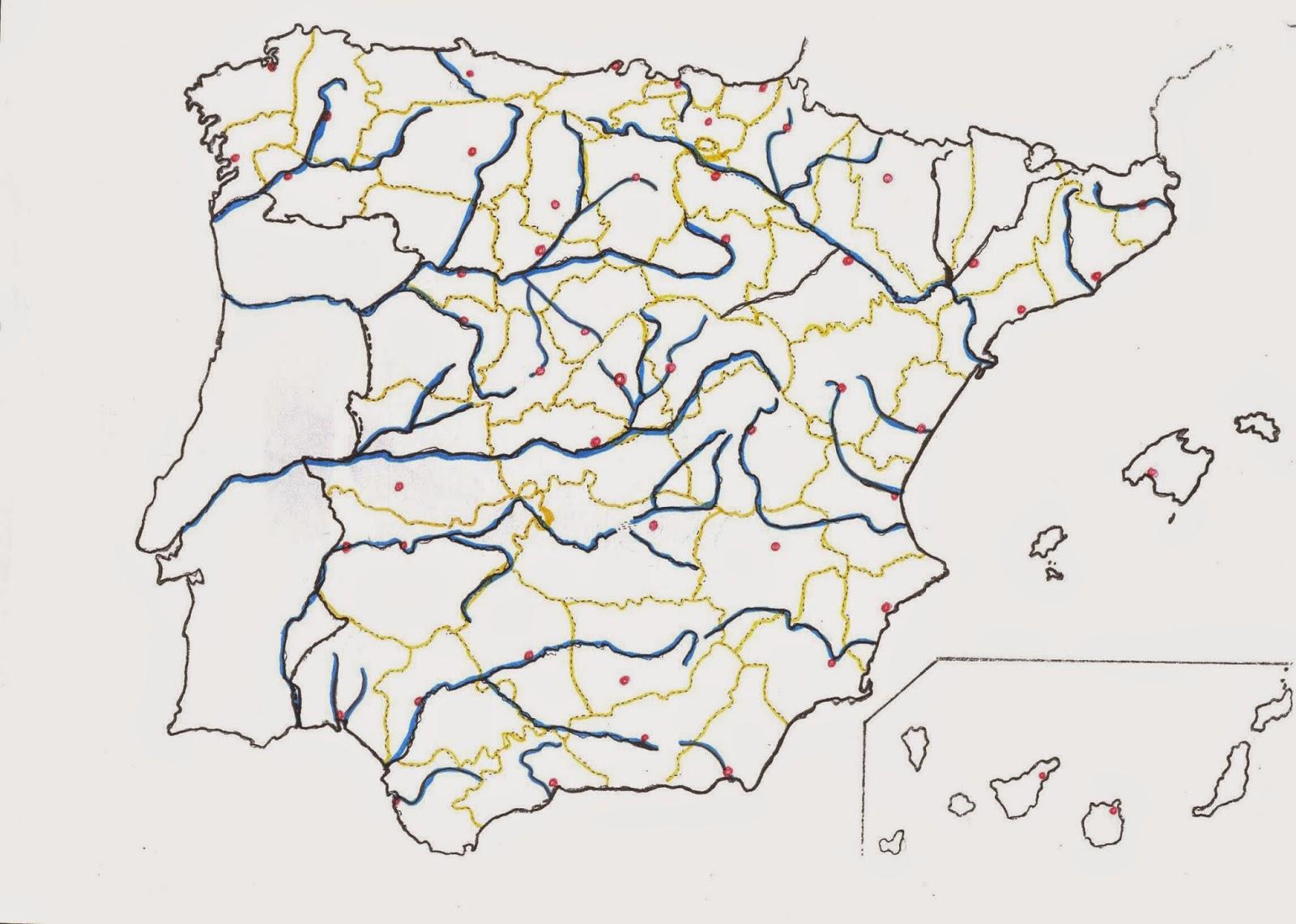 Mapa De España Mudo Rios Para Imprimir.Maestra De Primaria Mapas Mudos De Espana