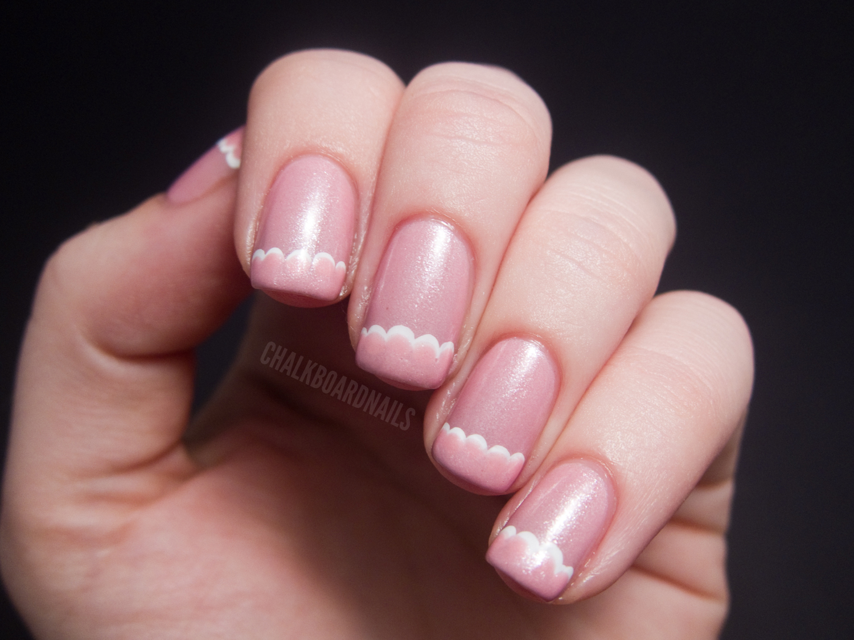 """Delicate"" scallop tip   Chalkboard Nails   Nail Art Blog  ""Delicate&..."