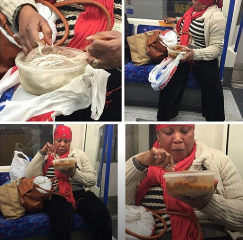 Nigeria woman eating Amala on London train