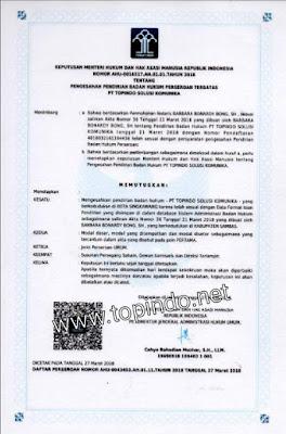SK Pendirian PT. Topindo Solusi Komunika Oleh Men HUK dan HAM