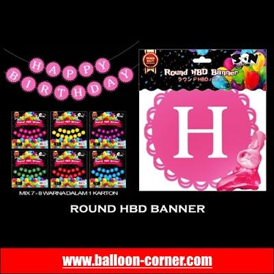 Round HBD Banner / Bunting Banner HBD Bulat Warna Warni