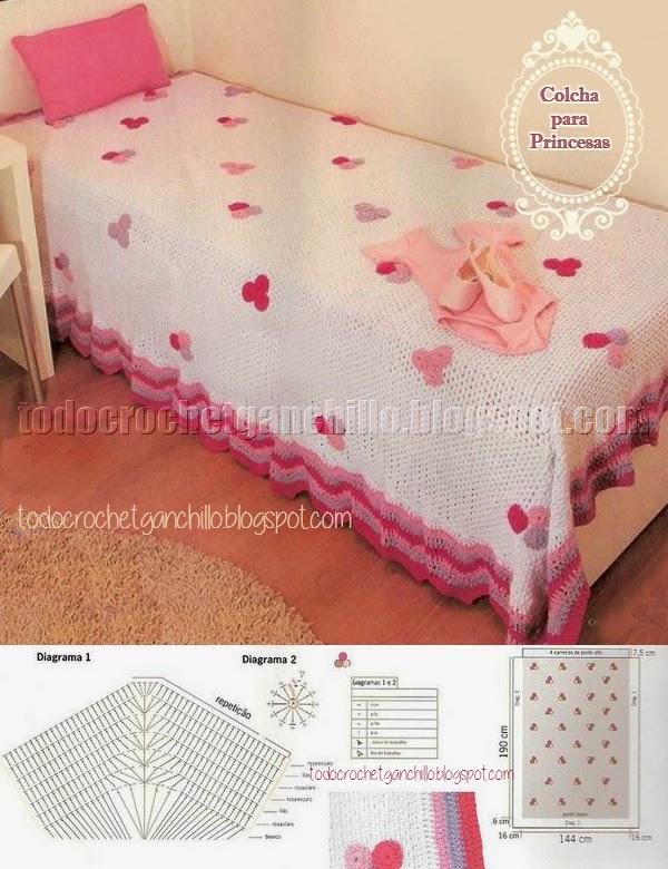 Colcha para cama para niña tejida con ganchillo