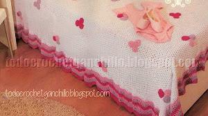 Patrones de Manta Crochet para cama de princesa