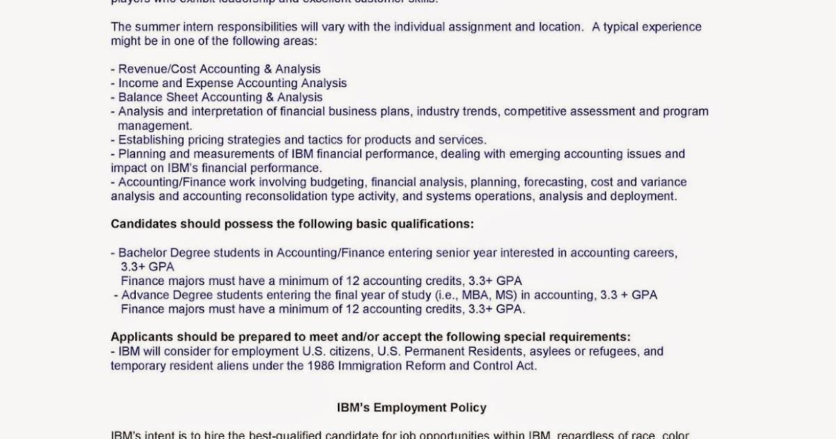 URI CBA Internship/Job Information IBM - Summer Accounting Internship