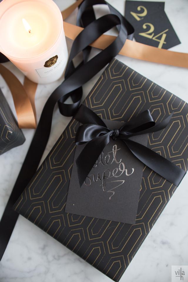 paketointi, kulta ja musta, joulu, annika välimäki olet super